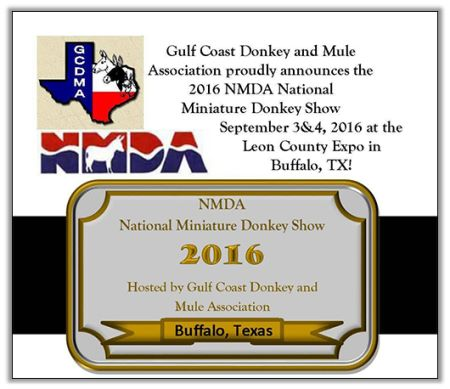 2016 National Show sponsored by Gulf Coast Donkey and Mule ASSociation!